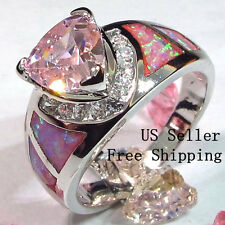 Size 9 - Lab created Pink Topaz & Fire Opal ring
