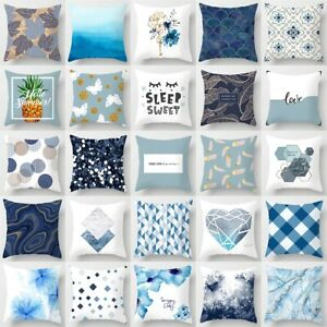 18'' Nordic Blue Pillow Cases Polyester Throw Cushion Cover Sofa Bed Home Decor