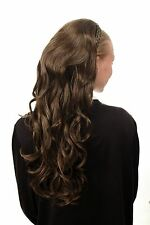 Halbperücke geflochtener Haarreif lang wellig dunkelbraun blond gesträhnt DW1025