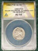1983-P NICKEL-MAJOR CUD/DIE BREAK/CLASHED DIES-ANACS AU55-MULTIPLE ERRORS!-d3280