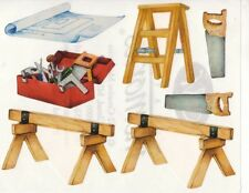 NEW Creative Memories BLOCK STICKER - Tool Box, Ladder, Saw Stools, Blueprints