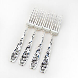 Berry Regular Forks Set Whiting Sterling Silver 1880 Mono