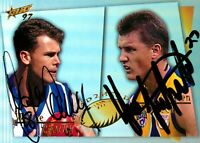 ✺Signed✺ 1997 KANGAROOS WEST COAST EAGLES AFL Card WAYNE CAREY & GLEN JAKOVICH