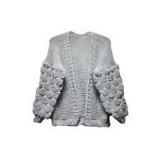 New Women Bobble Knit Sleeve Cardigan Ladies High Street Winter Jumper Sweaters