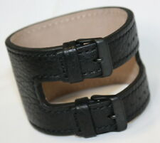 KHS Tactical Watches Ersatzbänder Lederband Kraftband schwarz PVD, KHS.EBLK1.22