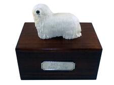 Beautiful Paulownia Wooden Personalized Urn With Komondor Figurine