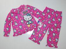 Schlafanzug~USA~92-98~Hello Kitty~Nachtwäsche~Pyjama~Mädchen~Katze~rosa~Knöpfe~