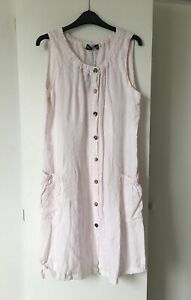 LADIES EDEN ROCK (MADE IN ITALY) PALE PINK SUMMER DRESS - 12/14 Size 2 - NEW