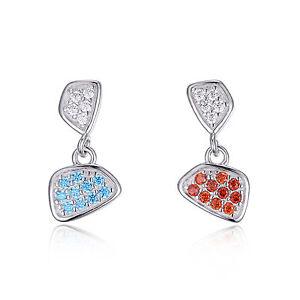 Funky Girls Ladies Cubic Zirconia Solid Sterling Silver Dangle Earrings Gift Fun