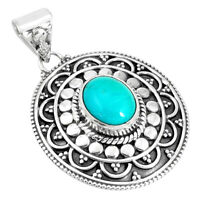 4.38cts Natural Green Kingman Turquoise 925 Sterling Silver Pendant P33468