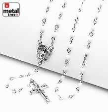 "Rosary Silver White Bead Guadalupe Jesus Cross 25"" Necklace HR 700 SWH"
