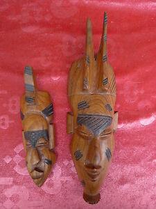 2 Bella, vecchio Maschere di Legno __ Africa__ Intagliato_