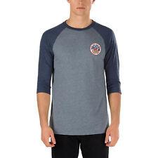 5f428dc0f Vans Men's Bear Patch Baseball Cotton T-Shirt Heather Grey Heather Navy