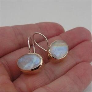 Hadar Designers Handmade Sterling Silver 9k Yellow Gold Moonstone Earrings(I e36
