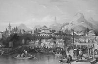 CHINA City of Tae-Ping in Keang-nan Province - 1840 Antique Print T. Allom