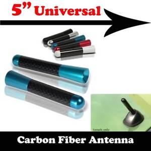 "5"" Stubby Carbon Fiber Aluminum Short Antenna Blue Screws For DODGE Auto Car"