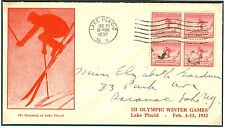 US Olympische Spiele Olympic Games 1932 FDC with cachet in RED with block of 4