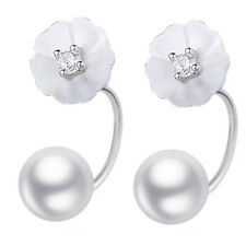 Silver and White Shell Beautiful Daisy Flowers Studs Women Earrings Bridal E1260