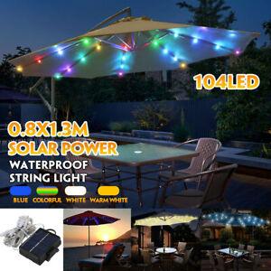 104LED Parasol Solar Umbrella Fairy Light for Patio Table Parasol Outdoor Garden