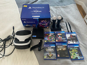 Sony Playstation Vr Bundle - 6 Games Carry Case Move Controllers & Dock