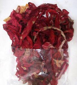 ! 12 yards Unstitched Recycled PURE Silk Sari Ribbon Yarn tassels Maroon Skeins