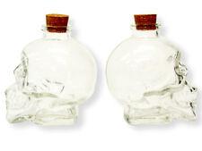 Crystal Clear Glass Skull Head Bottle Cork Vodka Bar Goth Party Shot Alcohol