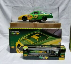 NEW Chad Little John Deere Motorsports 1:18 Model Car w/case & Transporter Semi