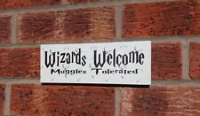 shabby vintage chic harry potter wizards welcome muggles plaque sign gift idea