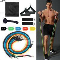11PCS Resistance Band Set Yoga Pilates Abs Exercise Fitness Tube Workout Bands +