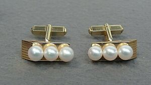 Mikimoto 3 Pearl Vintage Cufflinks 14k Yellow Gold