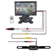 "7"" TFT LCD Monitor Car Rear View Back Up Reverse Camera Wire Kit +Power Adapter"