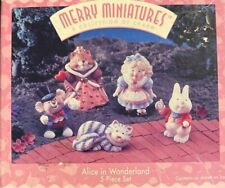 1996 Set 5 Hallmark Merry Miniatures Alice In Wonderland Cheshire Cat Queen New