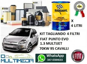 TAGLIANDO FILTRI OLIO BARDAHL 5W30 FIAT PUNTO EVO 1.3 MJET 95 CAVALLI 70 KW