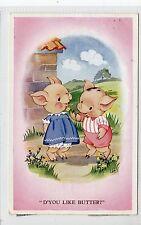 """D'YOU LIKE BUTTER?"": Comic pigs postcard (C19250)"