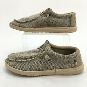 Hey Dude Wally Comfort Shoes Mens 9 Free Beige Canvas Casual Lace Up Low Top