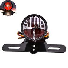"""Stop"" Side Mount Motorcycle Tail Light License Plate Bracket Cafe Racer Bobber"