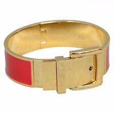 MICHAEL KORS MKJ3193 Gold-Tone/Red Enamel Wide Buckle Bangle Bracelet