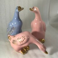 Vtg Geese Porcelain Bird Figurines Pink Blue Gold 6 Inch Set of 3