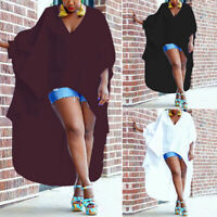 ZANZEA Womens Batwing Sleeve V Neck Baggy Irregular Hem Long Tops Blouse Kaftan