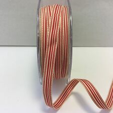 """3/8"""" Grosgrain Ivory Striped Ribbon - May Arts - RG14 - Red/Ivory - 5 Yards"""
