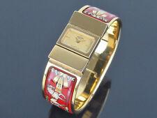 Auhtthentic HERMES Loquet Gold Plated Red Enamel Cloisonne Bangle Quartz Watch