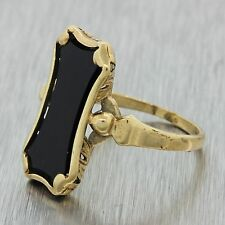 1880s Antique Victorian Estate 14k Solid Yellow Gold Black Onyx Ring