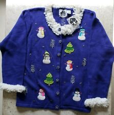 Storybook Knits Snowman Wonderland Blue Christmas Cardigan Sweater Size L NWT