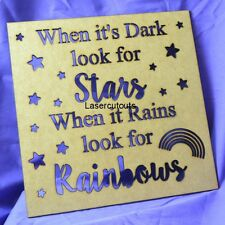 Lasercut MDF 'When it's dark look for stars.....' Framed Quote, To Fit Box Frame