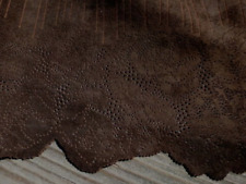 lambskin Suede leather hide Chocolate Brown w /Laser Cut Floral Fringed Edge 4sf