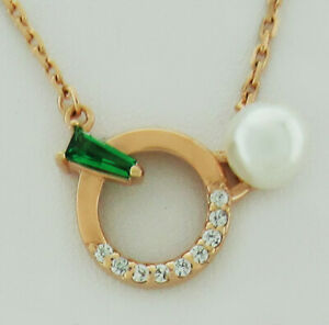 EMERALD & WHITE SAPPHIRE & GENUINE PEARL NECKLACE .925 Silver * NEW WITH TAG *