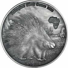 Kongo 1000 Francs 2020 Stachelwein -  Porcupine Silver Ounce Antique Finish