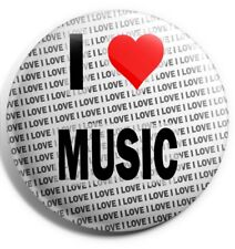 "I Love Music Pin Badge 3"" 75mm  - Gift - Birthday - Stocking Filler"