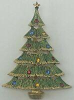Vintage JJ Christmas Tree Pin Brooch Gold Tone with Rhinestone Ornaments