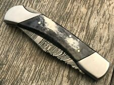ASH DT45 Damascus steel custom handmade pocket folding knife